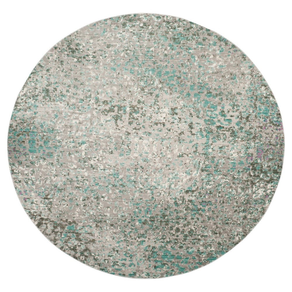 Gray Blue Multi Burst Loomed Round Area Rug 6'7 - Safavieh