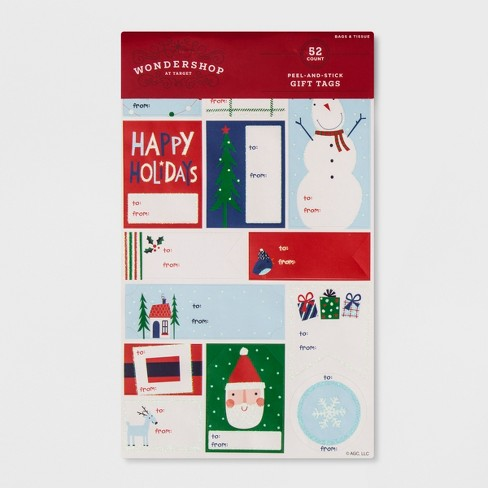 52ct Peel-and-Stick Holiday Designs Gift Tag Set - Wondershop™ - image 1 of 1