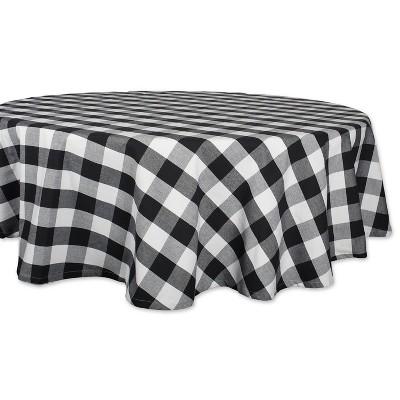 70 R Buffalo Check Tablecloth Black/White - Design Imports