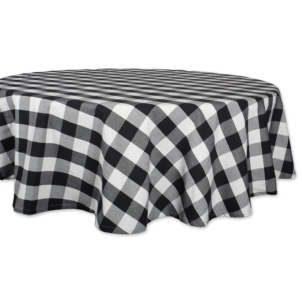 "Image of ""70""""R Buffalo Check Tablecloth Black/White - Design Imports, Size: 70"""" Round"""