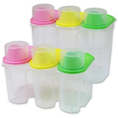"Basicwise ""BPA-Free Plastic Food Saver, Kitchen Food Cereal Storage Containers with Graduated Cap, Set of 3 Large and 3 Small"""
