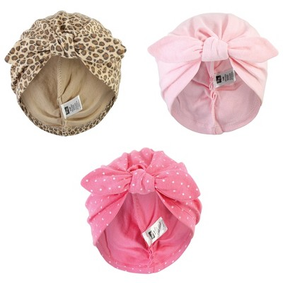 Hudson Baby Baby Girl Turban Cotton Headwraps, Leopard, One Size