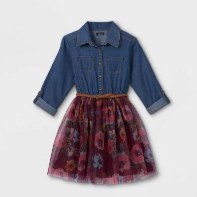 Zenzi Girls' Denim Tulle Dress