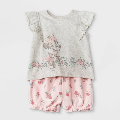 Baby Girls' 2pc Minnie Mouse Short Sleeve Knit Top and Bottom Set - Pink Newborn