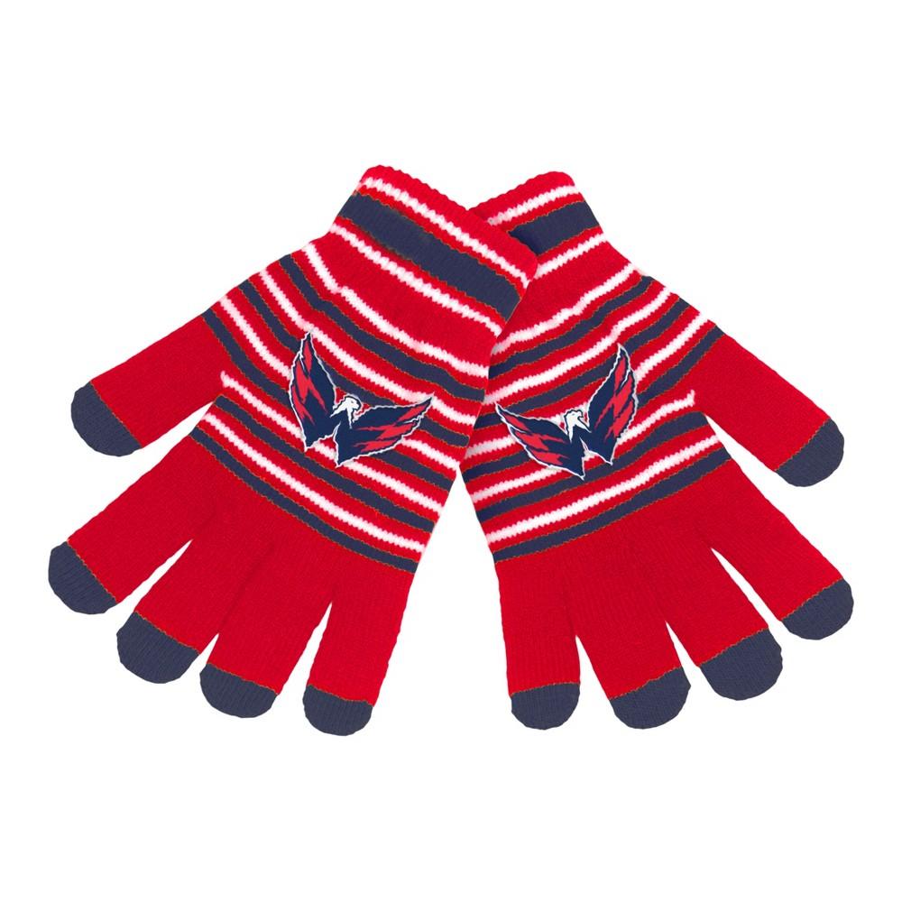 NHL Washington Capitals Stripe Knit Gloves, Adult Unisex