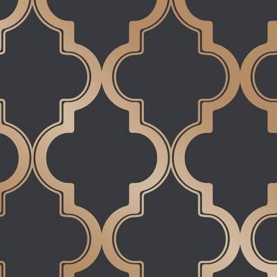 Tempaper Marrakesh Peel and Stick Wallpaper Midnight and Metallic Gold