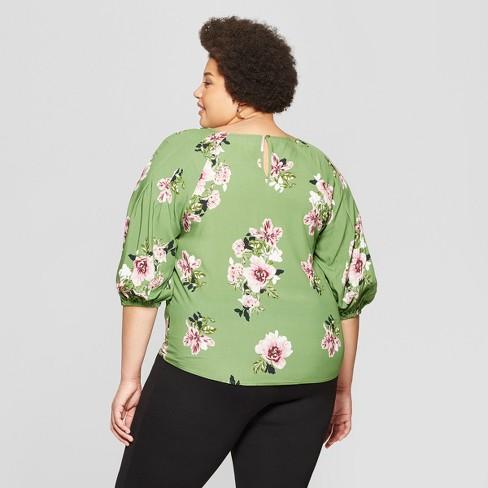 8da4e1948 Women's Plus Size Floral Print 3/4 Sleeve Pleated Blouse - Ava & Viv™ Green  : Target
