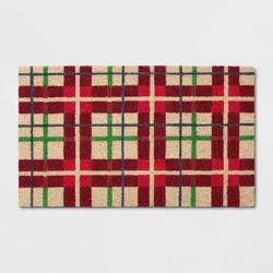 "1'6""X2'6""/18""X30"" Christmas Check Doormat Red - Wondershop™"