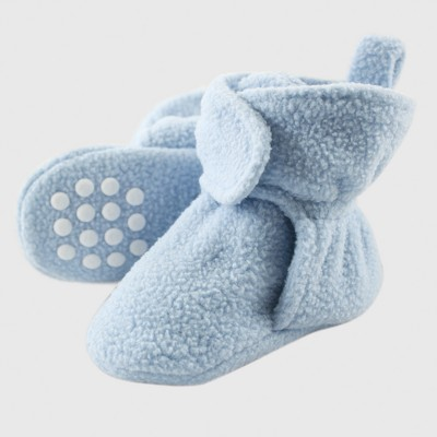 Luvable Friends Baby Boys' Fleece Booties - Blue 0-6M