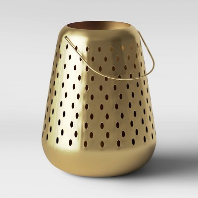 """18"""" Large Metal Perforated Outdoor Lantern Gold - Opalhouse™"""