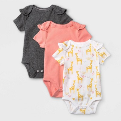 Baby Girls' 3pk Basic Ruffle Short Sleeve Bodysuit - Cloud Island™ Coral Newborn