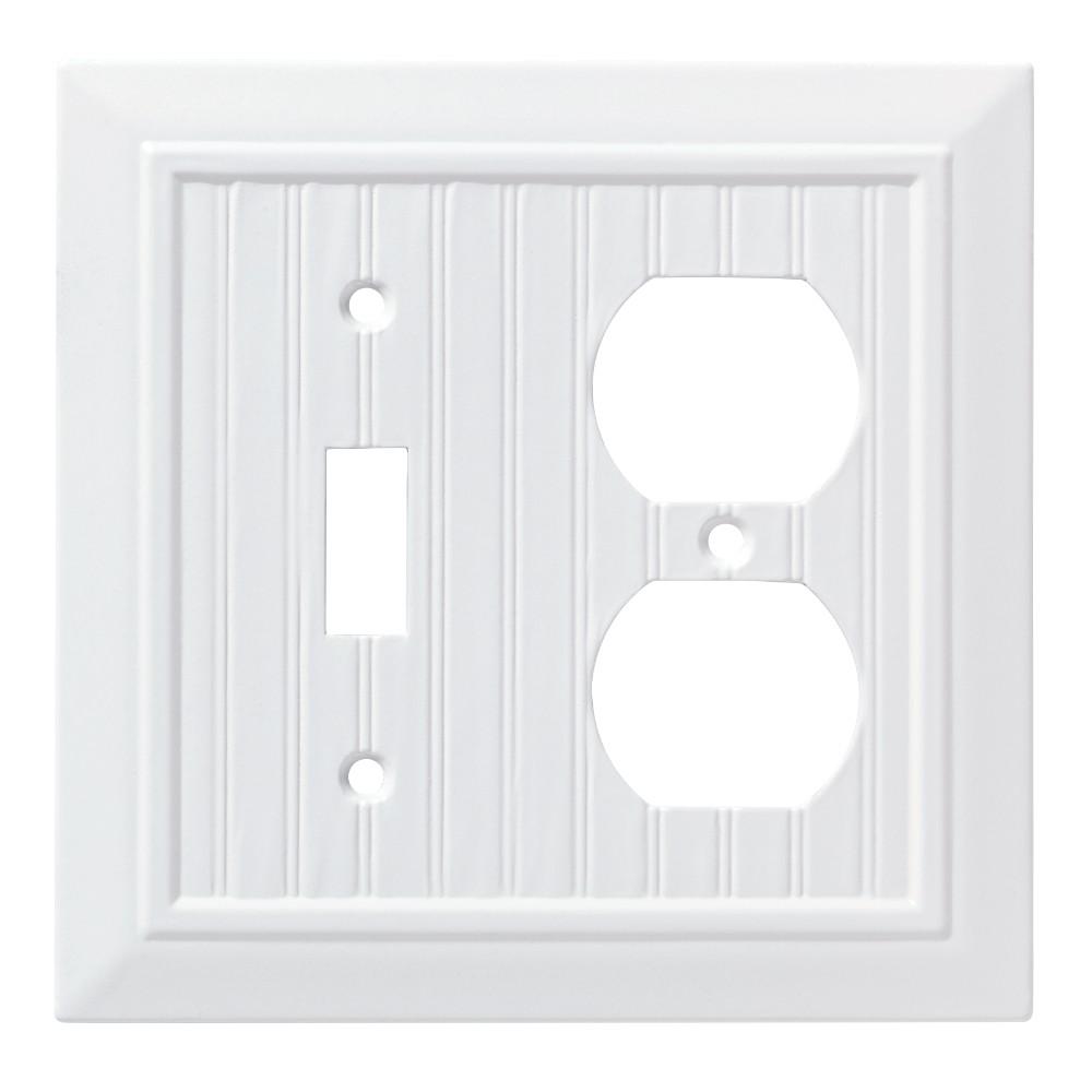 Classic Beadboard Switch/Duplex Wall Plate White - Franklin Brass