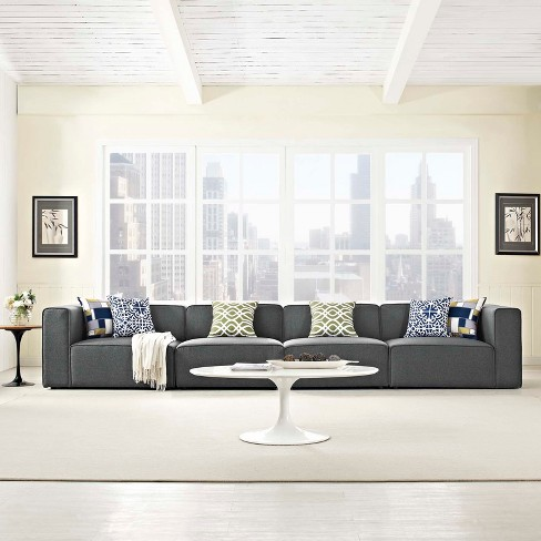 Mingle 4pc Upholstered Fabric Sectional Sofa Set Gray - Modway : Target