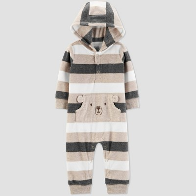 Baby Boys' Fleece Hooded Romper - Just One You® made by carter's Gray/Black 3M