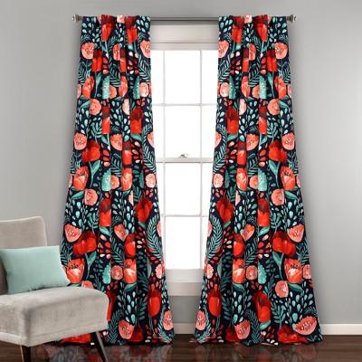 Poppy Garden Room Darkening Window Curtain Panels Navy 52 X84  Set - Lush Decor