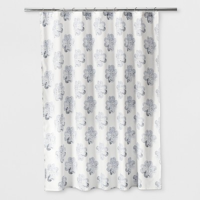 Woven Floral Shower Curtain Sour Cream - Threshold™