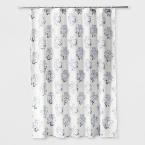 Woven Floral Shower Curtain Sour Cream - Threshold™ - image 1 of 1