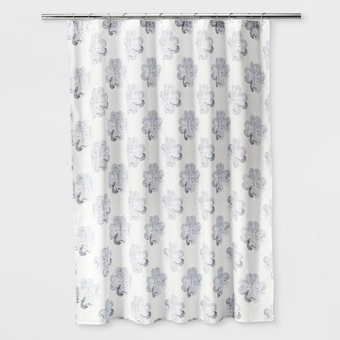 Woven Floral Shower Curtain Sour Cream