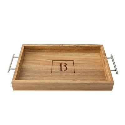 Monogram Acacia Serving Tray with Metal Handles B - Cathy's Concepts