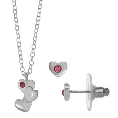 FAO Schwarz Triple Heart Pendant Necklace & Earring Set