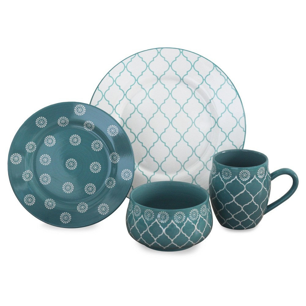 Image of Baum Bros. Morocco 16pc Dinnerware Set Turquoise, White Blue