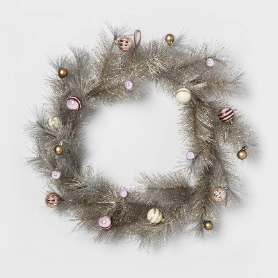 """24"""" Hard Needle Wreath with Plastic Ornaments Gold Glittered - Opalhouse™"""