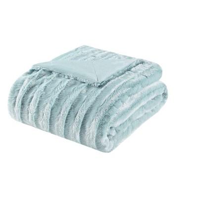 60 x50  York Long Faux Fur Throw Blanket Blue