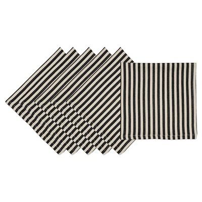 Black Petite Stripe Napkin (Set Of 6)- Design Imports