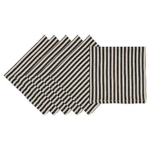 Black Petite Stripe Napkin (Set Of 6) - Design Imports - image 1 of 1