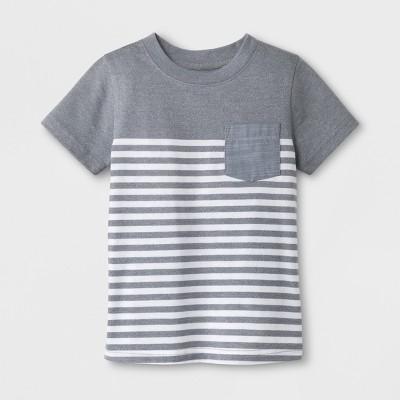 Toddler Boys' Pocket Short Sleeve T-Shirt - Cat & Jack™ Gray Stripe 12M