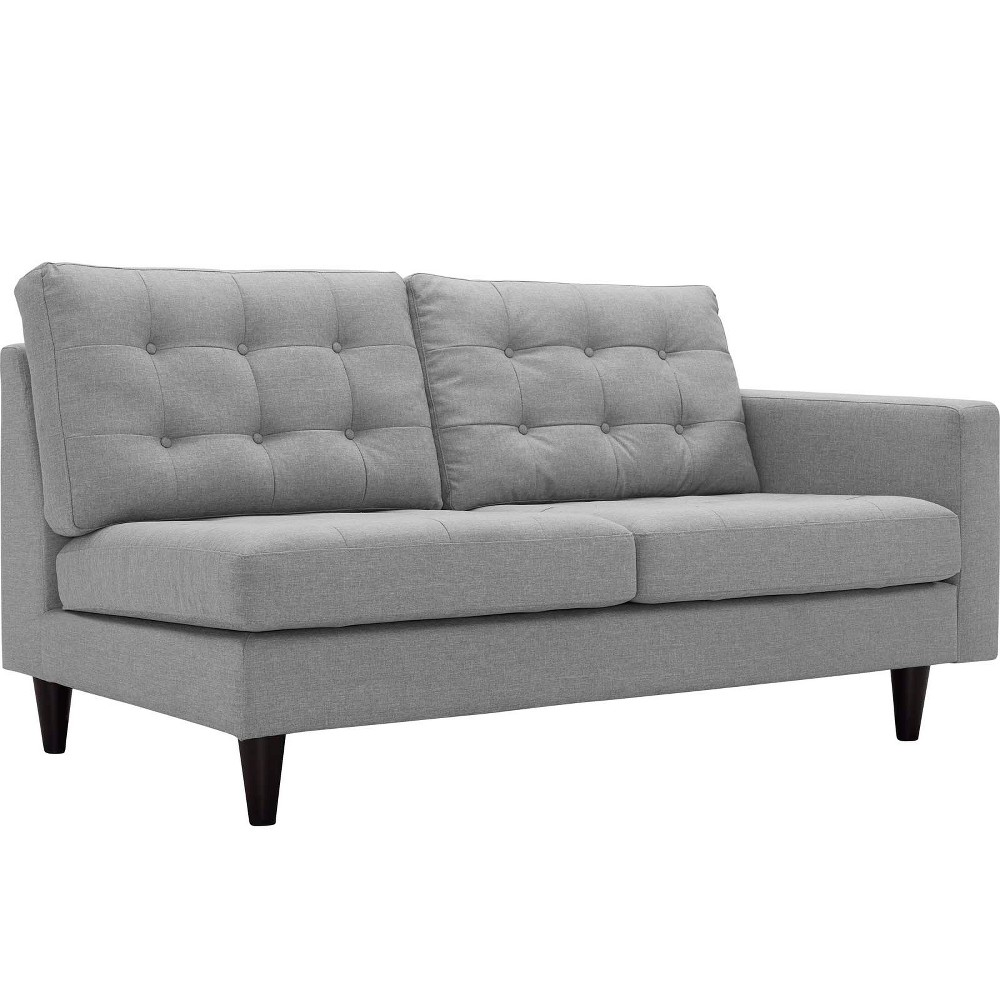 Empress RightFacing Upholstered Fabric Loveseat Light Gray - Modway