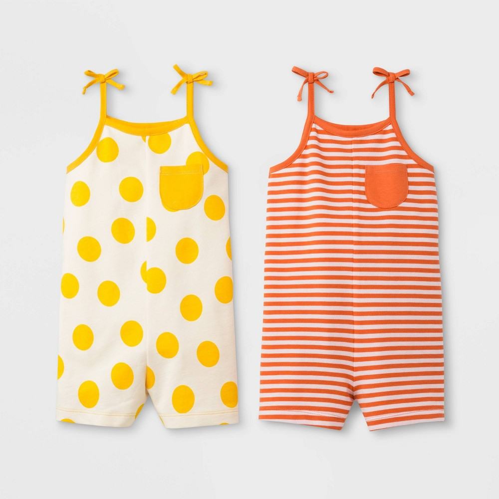 Toddler Girls' 2pk Romper - Cat & Jack Yellow/Orange 4T