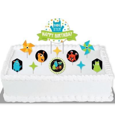 Big Dot of Happiness Monster Bash - Little Monster Birthday Party Cake Decorating Kit - Happy Birthday Cake Topper Set - 11 Pieces