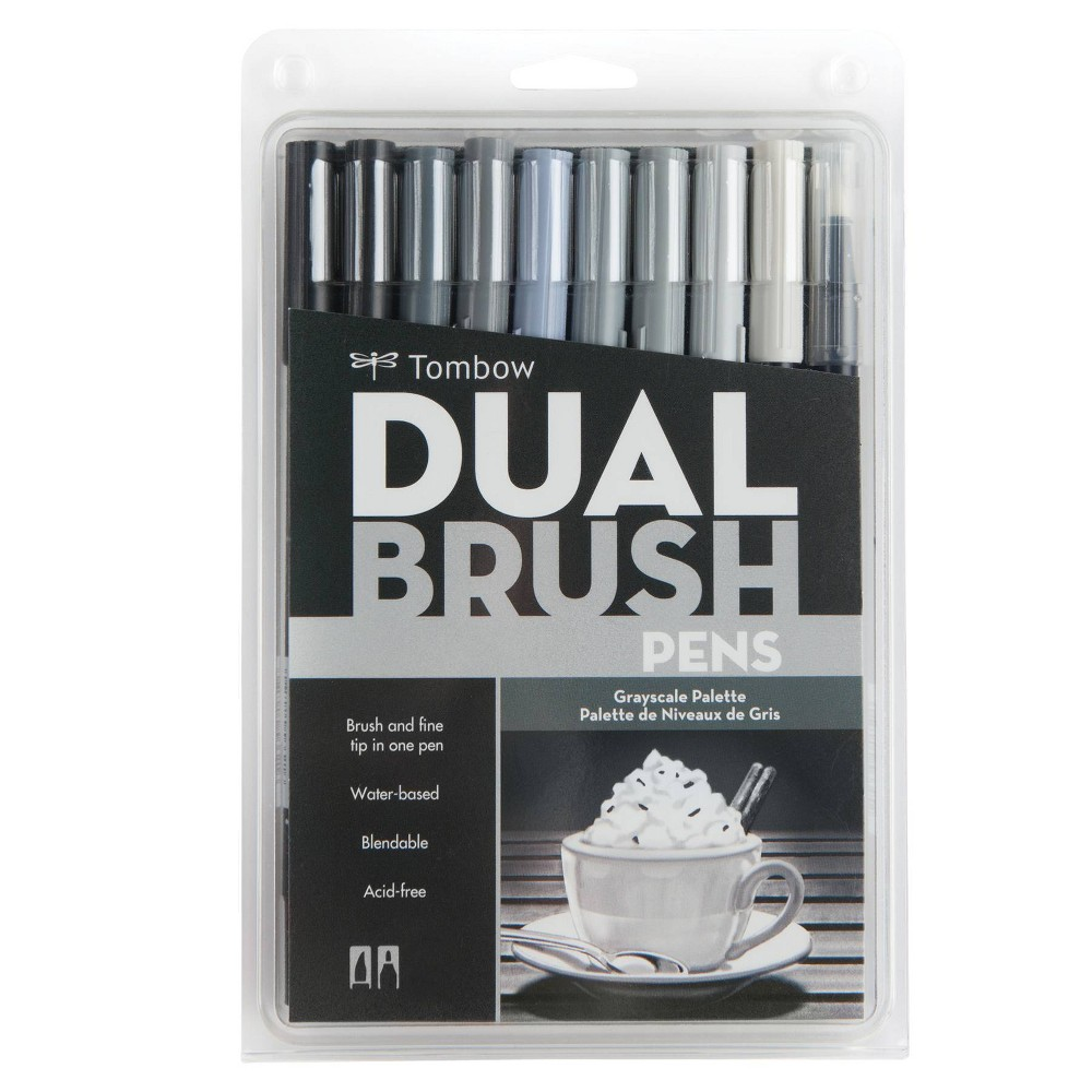 Image of 10ct Pen Set Dual Brush Greyscale - Tombow
