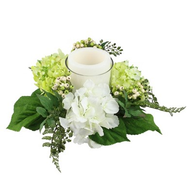 """Northlight 16"""" Decorative Artificial Cream White and Green Hydrangea and Berry Hurricane Glass Candle Holder"""