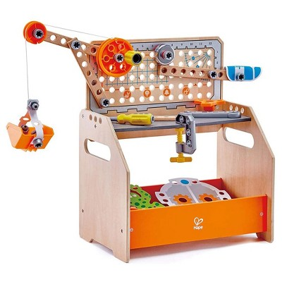 Hape Unisex Scientific Workbench 58 Piece Kid's Discovery Construction Workshop STEAM Toy for Ages 4 and Up