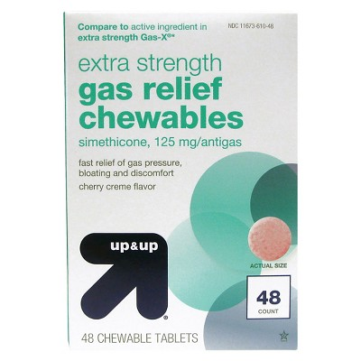 Gas Relief Extra Strength 125mg Chewable Tablets - Cherry Crème - 48ct - Up&Up™ (Compare to active ingredient in extra strength Gas-X)