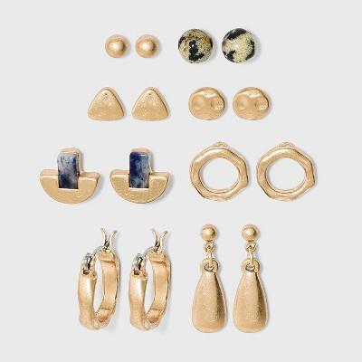 Semi-Precious Dalmatian Jasper and Blue Aventurine with Worn Gold Earring Set - Universal Thread™ Gold