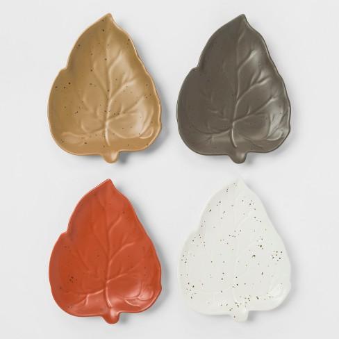 "8"" x 6"" 4pk Stoneware Leaf Appetizer Plates - Threshold™ - image 1 of 2"