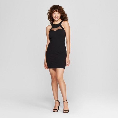 9402b7c2c82 Women s Sleeveless Halter Illusion Neckline Bodycon Dress - Lots of Love by  Speechless (Juniors ) Black