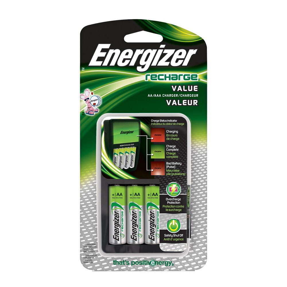 Energizer Recharge Universal AA4 Rechargeable Batteries (Chvcmwb-4), Black