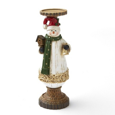 Lakeside Ceramic Holiday Snowman Candle Holder with Wood Carved Looking Details