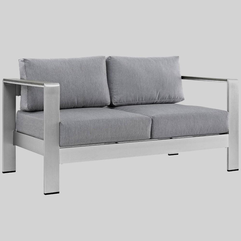 Shore 1pc Outdoor Patio Aluminum Loveseat - Gray - Modway
