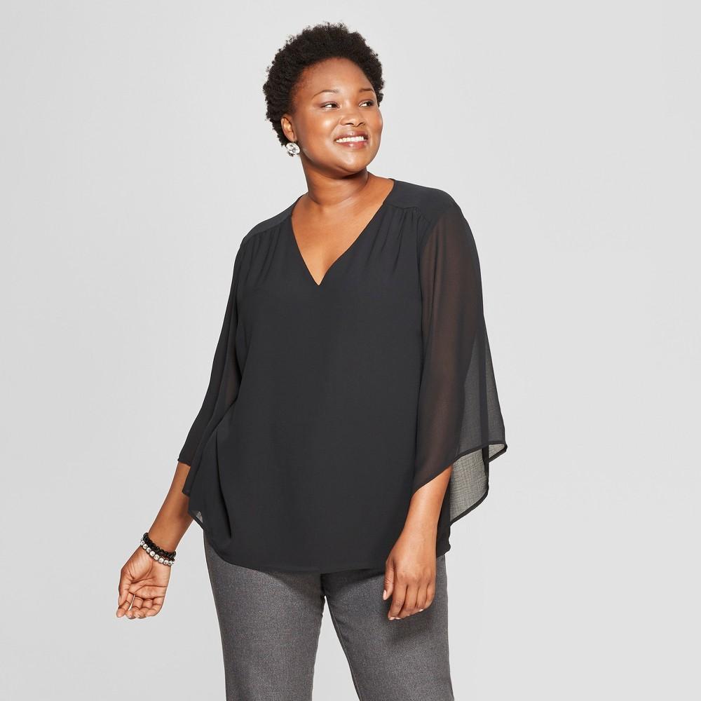 Women's Plus Size Gathered Long Sleeve Blouse - Ava & Viv Black X