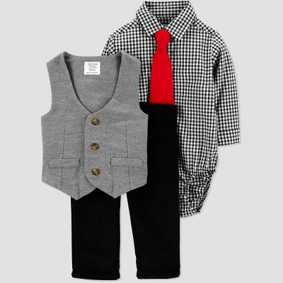 Baby Boys' Gingham Dressy Vest Set - Just One You® made by carter's  Black 3M