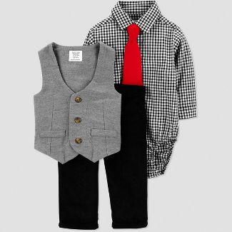 Baby Boys' Gingham Dressy Vest Set - Just One You Made by Carter's Black