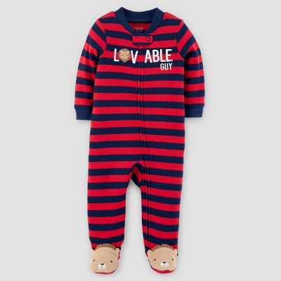 Baby Boys' Cotton Striped Lion Loveable Guy Sleep N' Play - Just One You™ Made by Carter's® Red 9M