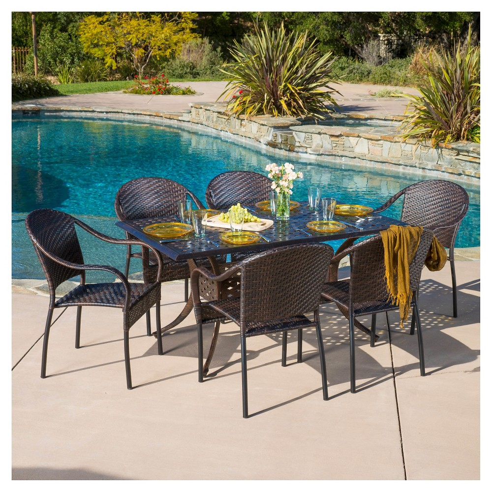 Sunset 7pc Cast Aluminum and Wicker Dining Set - Bronze/Brown - Christopher Knight Home