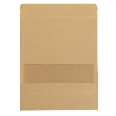 "50-Pack Kraft Reclosable Stand-up Bag, 3.6 Oz Resealable Paper Bag, 5.5 x 7.8"""