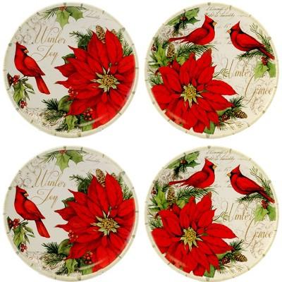 "Tabletop 8.25"" Winters Garden Dessert Plate Christmas Poinsettia Certified International  -  Dining Plates"